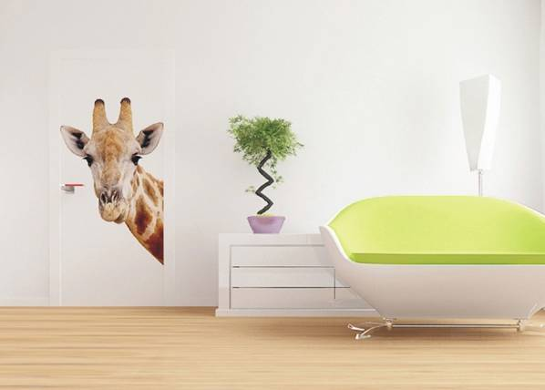 AG Design Fleece kuvatapetti GIRAFFE 90x202 cm