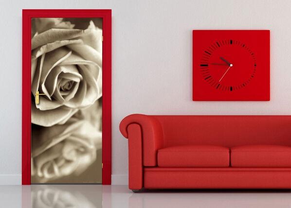 AG Design Fleece kuvatapetti BLACK AND WHITE ROSE 90x202 cm
