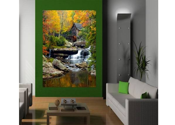 Image of AG Design Fleece kuvatapetti WATER MILL 180x202 cm
