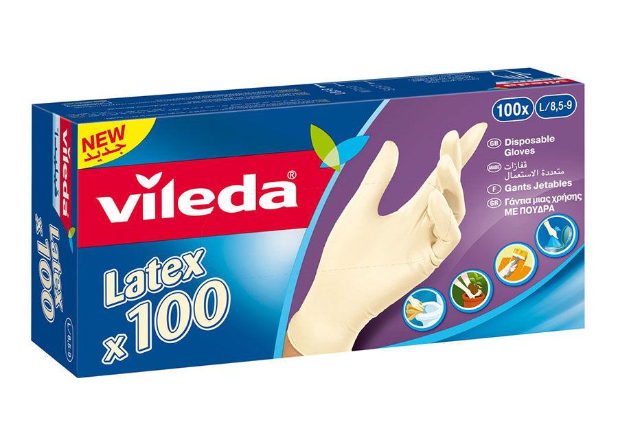 VILEDA Kertakäyttökäyttökäsine VILEDA MULTI LATEX 100 kpl S
