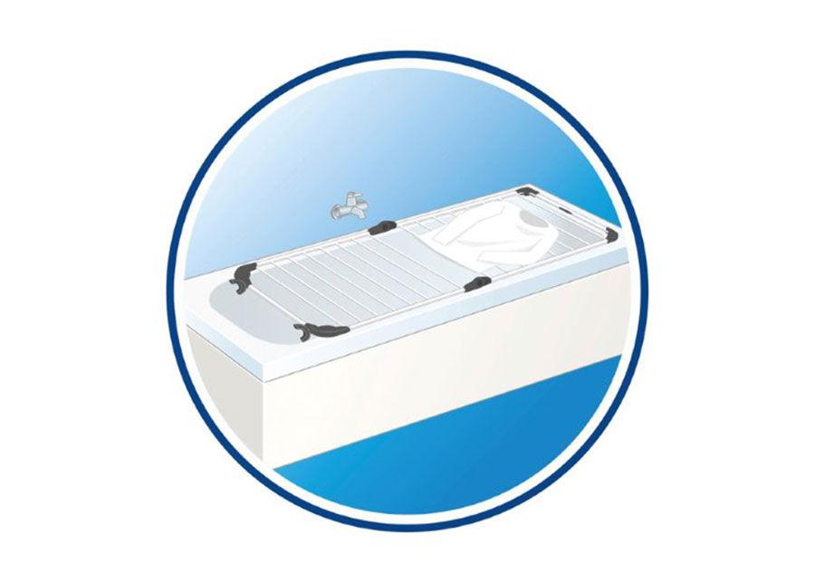 Vileda kylpyammeeseen asetettava pyykinkuivausteline Acrobath 10 m