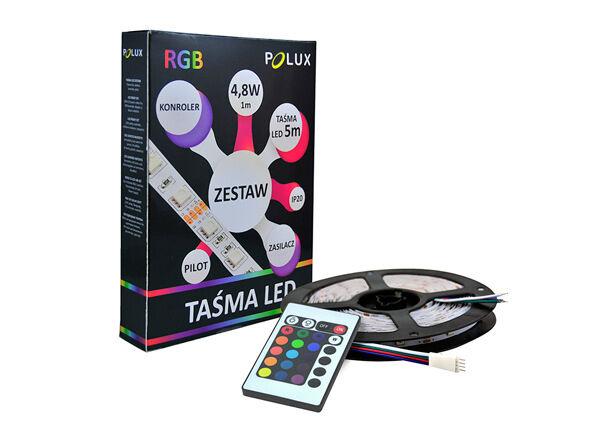 POLUX LED valoketju 5 m RGB 24 W + kaukosäädin