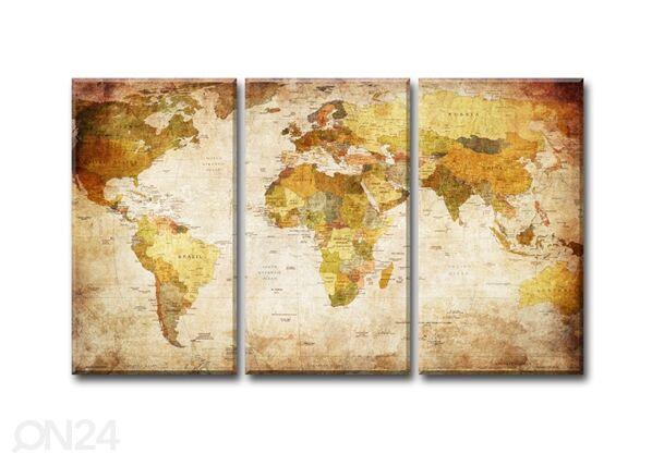 Image of Kolmeosainen seinätaulu WORLD MAP 120x80 cm