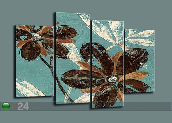 Image of Neliosainen seinätaulu FLOWERS 130x80 cm