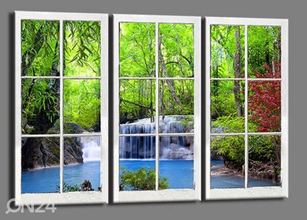 Image of Kolmeosainen seinätaulu WINDOW WATERFALL 120x80 cm
