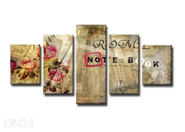 Image of Viisiosainen seinätaulu ABSTRAKT 160x80 cm