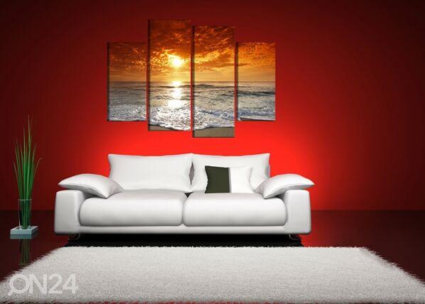 Image of Neliosainen seinätaulu AURINGONLASKU 130x80 cm