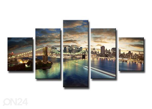 Image of Viisiosainen seinätaulu NEW YORK 160x80 cm