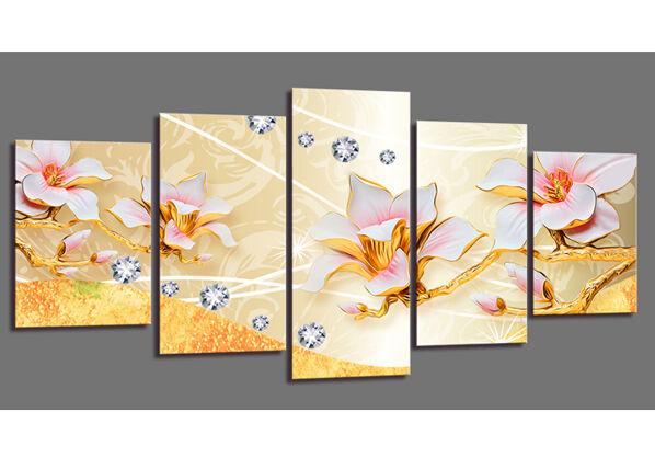 Visario Viisiosainen seinätaulu FLOWERS 200x100 cm