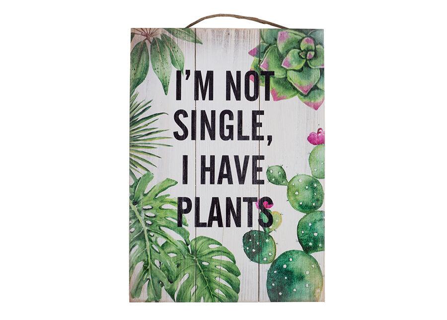 Home4you Puutaulu I`M NOT SINGLE, I HAVE PLANTS 25x35 cm