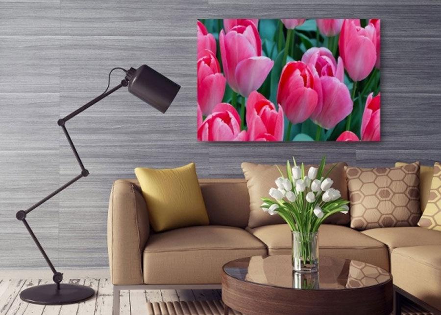 Image of SeinätauluPink tulips 80x120 cm