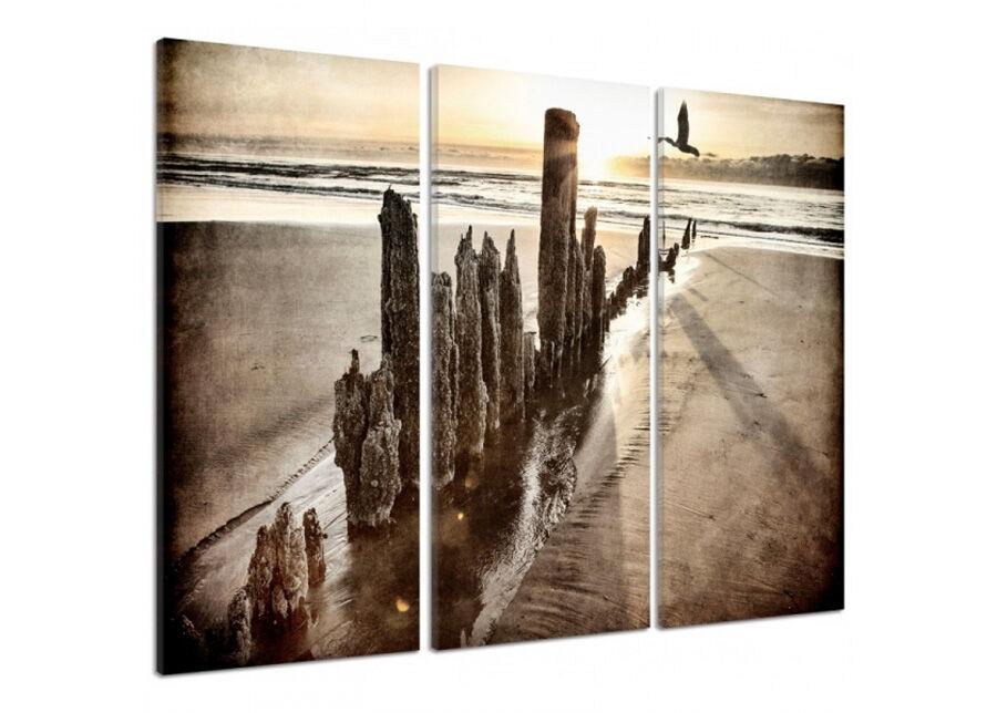 Kolmeosainen seinätaulu Sunset on the beach 3D 90x100 cm