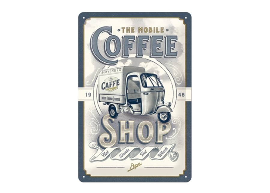 ART Retro metallijuliste The Mobile Coffee Shop 20x30 cm
