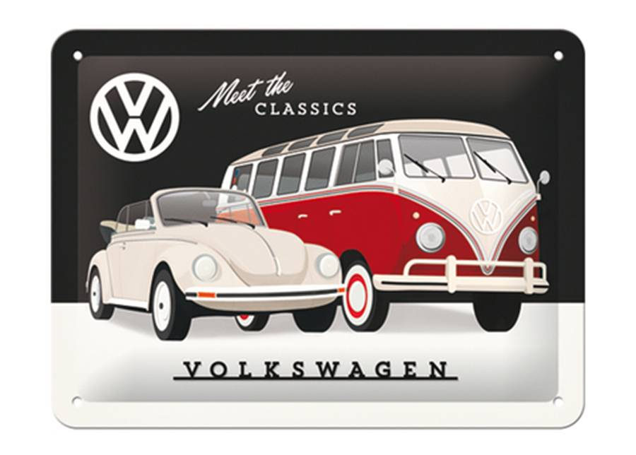 Image of ART Retro metallijuliste VW - Meet the Classic 15x20 cm