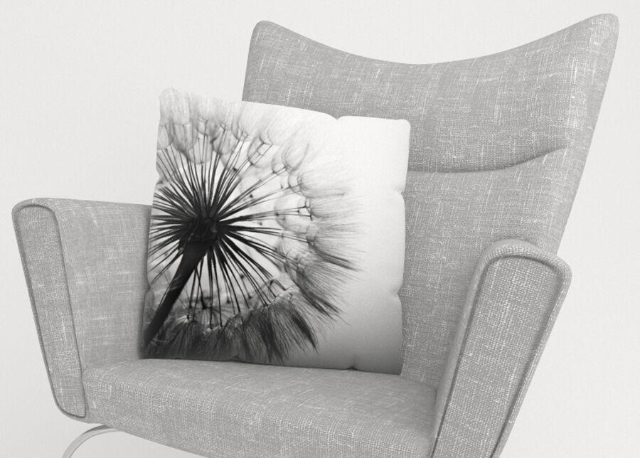 Image of Koristetyynyliina Amazing Dandelion Black and White 45x45 cm