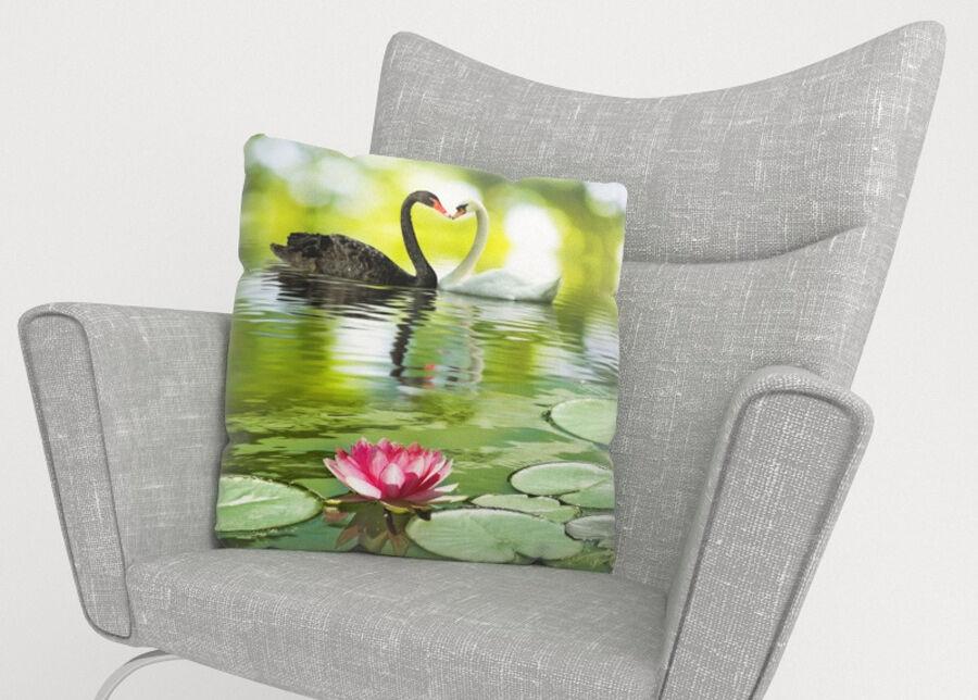 Image of Koristetyynyliina Black and White Swans 45x45 cm