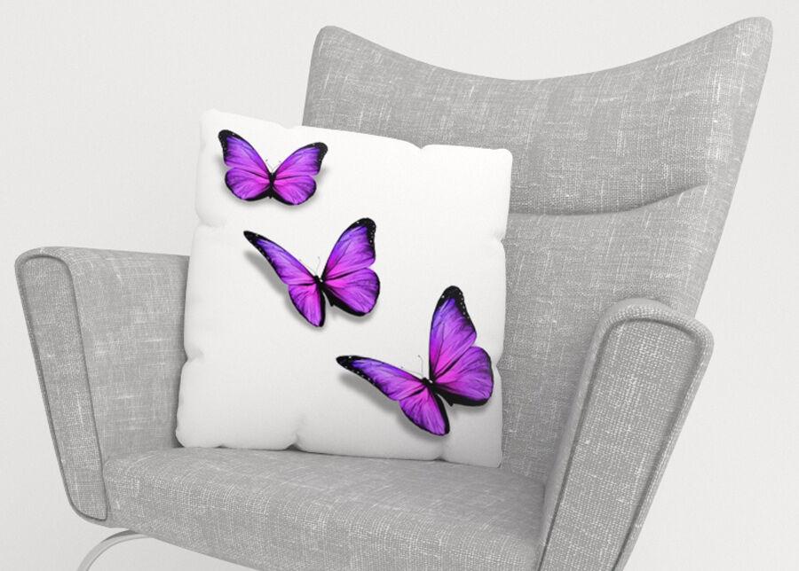 Image of Koristetyynyliina Purple Butterfly 45x45 cm