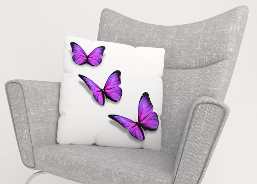 Image of Koristetyynyliina Purple Butterfly 50x50 cm