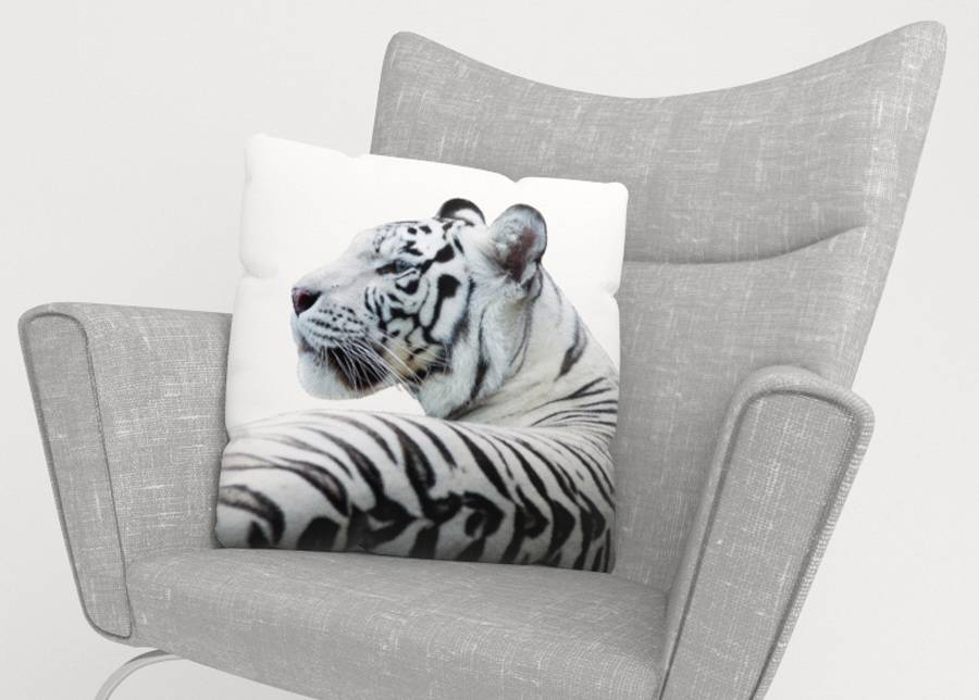 Image of Koristetyynyliina White Tiger 50x50 cm