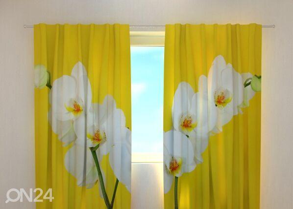 Wellmira Puolipimentävä verho WHITE ORCHIDS 240x220 cm