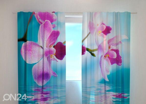 Wellmira Läpinäkyvä verho SKYBLUE ORCHIDS 240x220 cm