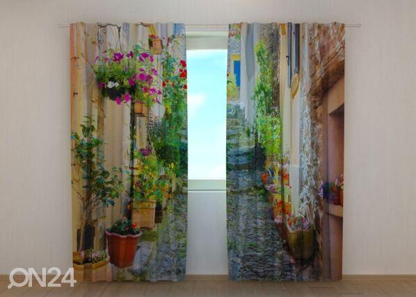 Wellmira Puolipimentävä verho BACK STREET IN FLOWERS 240x220 cm