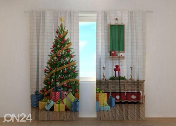 Image of Wellmira Puolipimentävä verho Christmas Tree with Gifts 240x220 cm