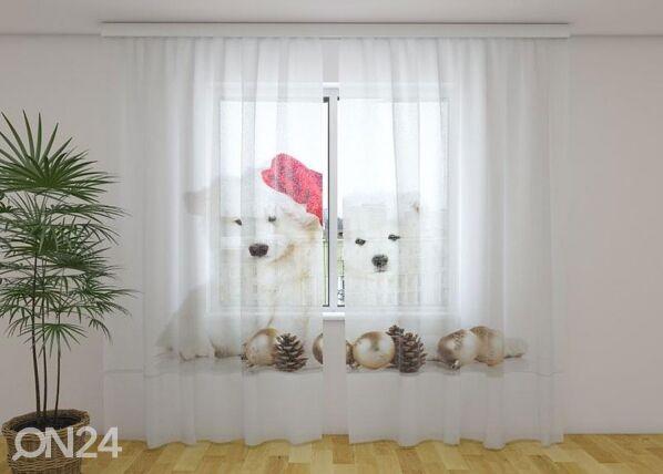 Image of Wellmira Läpinäkyvä verho Christmas Puppies 240x220 cm