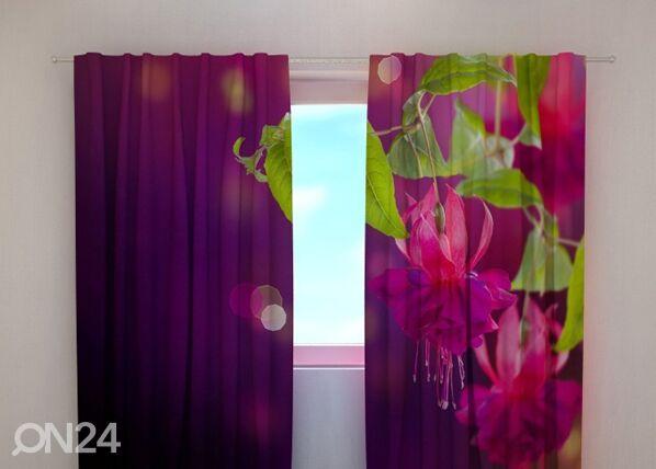 Wellmira Läpinäkyvä verho FUCHSIA FLOWERS 240x220 cm