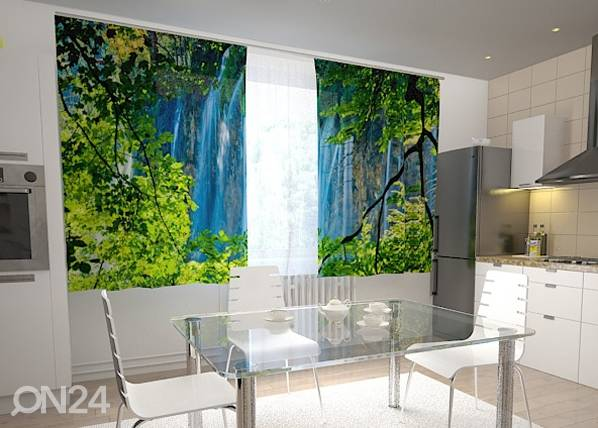 Wellmira Puolipimentävä verho WATERFALL BEHIND THE WINDOW 200x120 cm