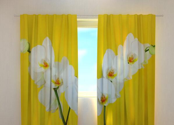 Image of Wellmira Puolipimentävä verho WHITE ORCHIDS 240x220 cm