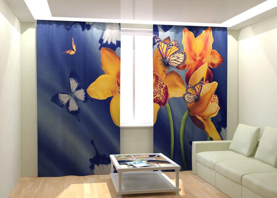 AT-Kodutekstiil Kuvaverhot YELLOW ORCHIDS AND BUTTERFLIES 300x260 cm