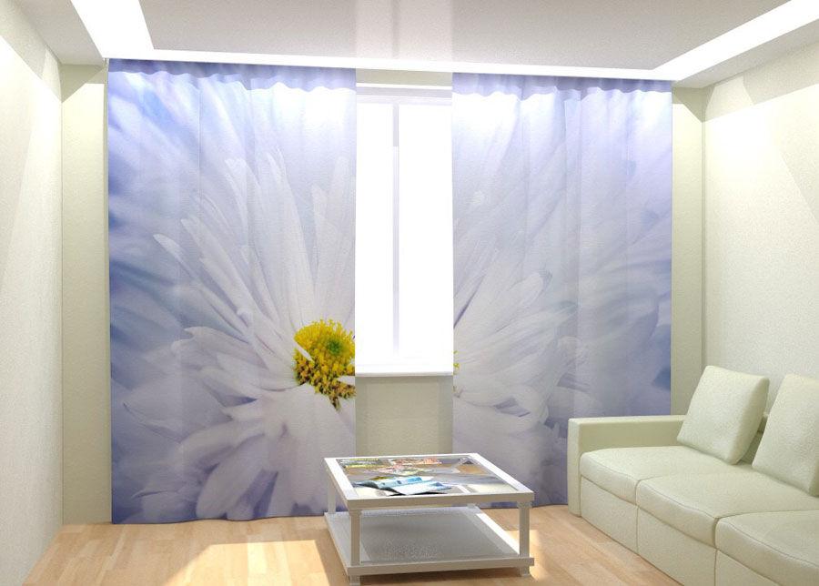 AT-Kodutekstiil Kuvaverhot WHITE BIG FLOVER 300x260 cm