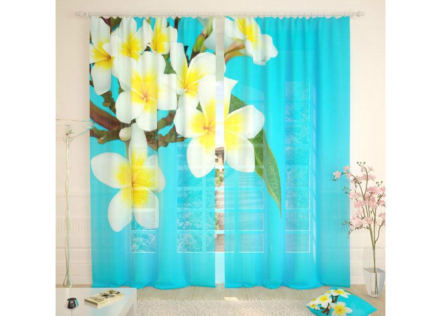 AT-Kodutekstiil Tylliverhot TROPICAL FLOWERS BLUE 290x260 cm