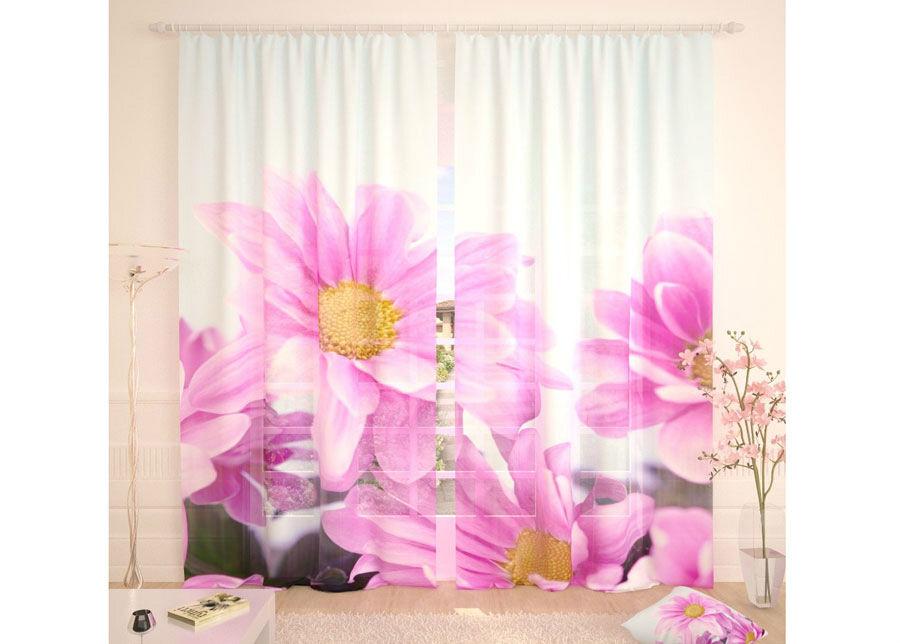 AT-Kodutekstiil Tylliverhot PURPLE FLOWERS 290x260 cm