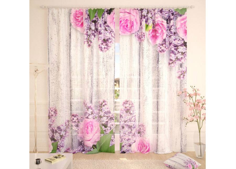 AT-Kodutekstiil Tylliverhot PINK FLOWERS 290x260 cm