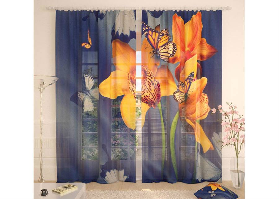 AT-Kodutekstiil Tylliverhot YELLOW ORCHIDS AND BUTTERFLIES 290x260 cm
