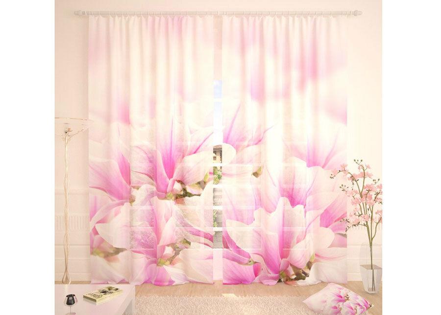 AT-Kodutekstiil Tylliverhot FRESH PINK FLOWERS 290x260 cm