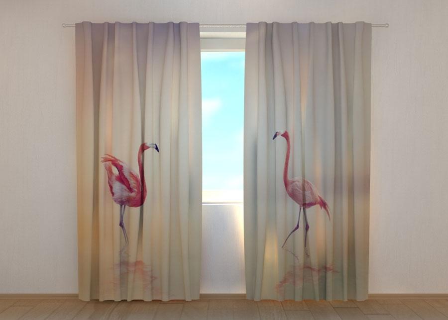 Wellmira Puolipimentävä verho Pink Flamingoes at Sunset 240x220 cm