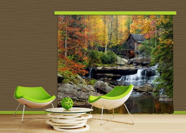 AG Design Puolipimentävä fotoverho WATERMILL IN AUTUMN 280x245 cm