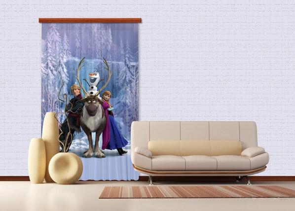 AG Design Puolipimentävä fotoverho DISNEY ICE KINGDOM 140x245 cm