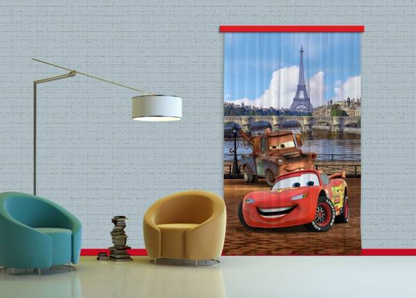 AG Design Pimentävä fotoverho DISNEY CARS PARIS 140x245 cm