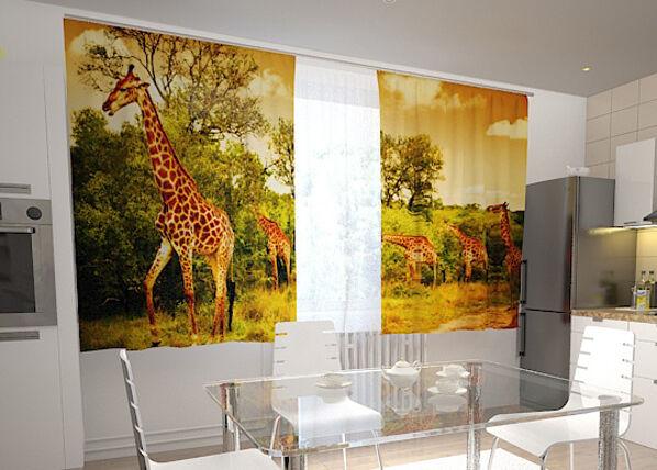 Wellmira Läpinäkyvä verho GIRAFFES IN THE KITCHEN 200x120 cm