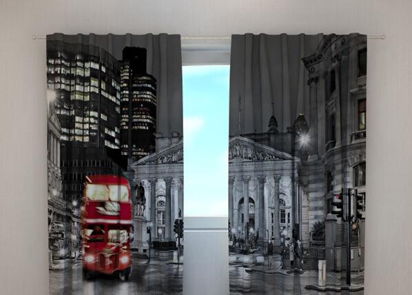 Wellmira Läpinäkyvä verho LONDON WITH RED BUS 240x220 cm