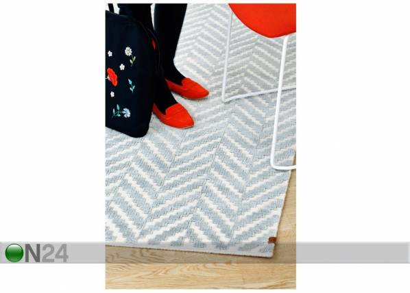 Image of newWeave Narma käsinkudottu villamatto Kuusamo white-grey 160x230 cm