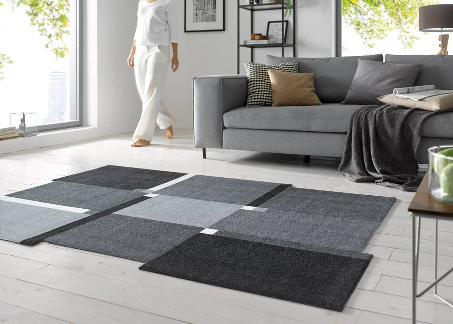 Image of Kleen-Tex Matto LIVING SQUARES BLACK 70x120 cm