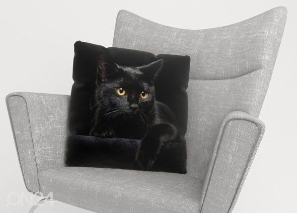 Image of Wellmira Koristetyynyliina BLACK CAT 50x50 cm