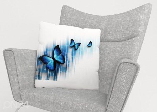 Image of Wellmira Koristetyynyliina BLUE BUTTERFLIES 50x50 cm