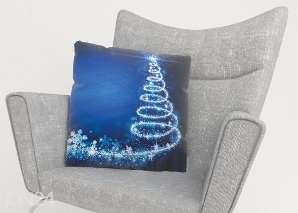 Image of Wellmira Koristetyynyliina BLUE CHRISTMAS TREE 50x50 cm