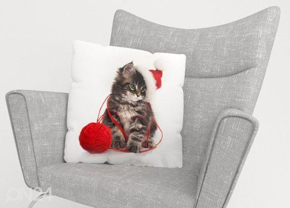Image of Wellmira Koristetyynyliina CHRISTMAS CAT 45x45 cm
